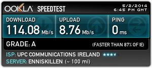 UPC speed upgrade test results